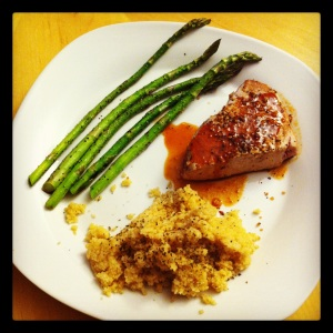 Seared Tuna with a Soy/Honey/Sriracha glaze, Sauteed asparagus, and whole wheat cous cous.